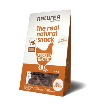 Naturea The Real Natural Snack Chicken Heart Przysmak Suszone serca drobiowe
